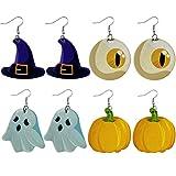 SOIMISS 4 Paar / 8 Stück Halloween Leder Ohrring...